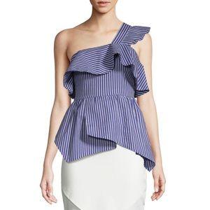 Lea & Viola Blue Striped One-Shoulder Ruffle Top